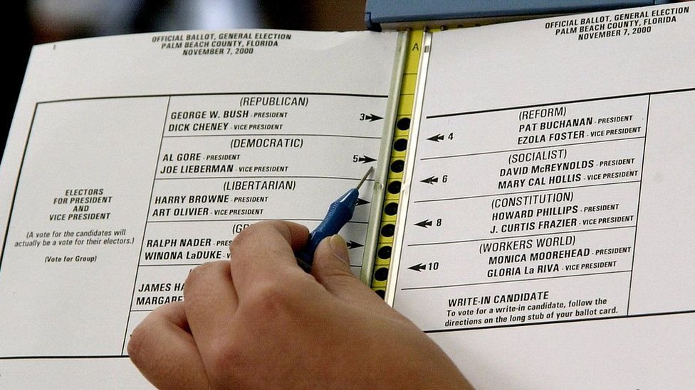 """Una boleta """"mariposa"""" de votación"""
