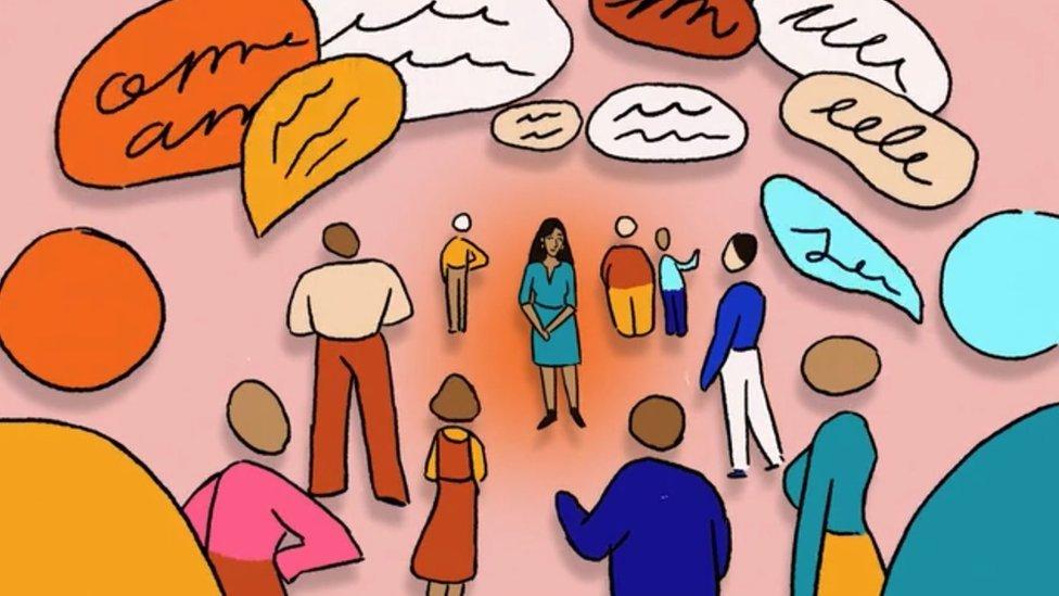 Ilustración de una líder mujer escuchando a su grupo