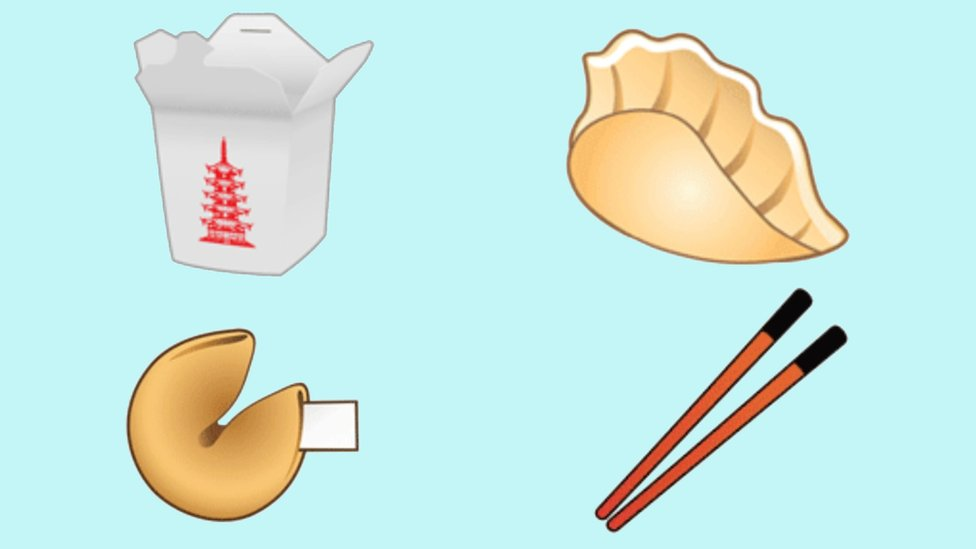 Emodžiji knedle, štapića za jelo, kolačića sreće i kutije za hranu za poneti