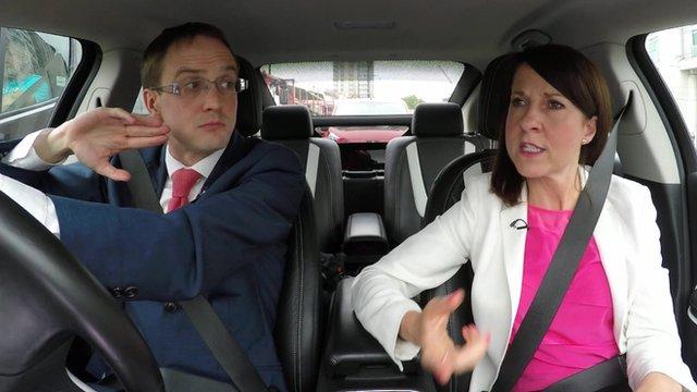 Chris Mason and Liz Kendall in a car