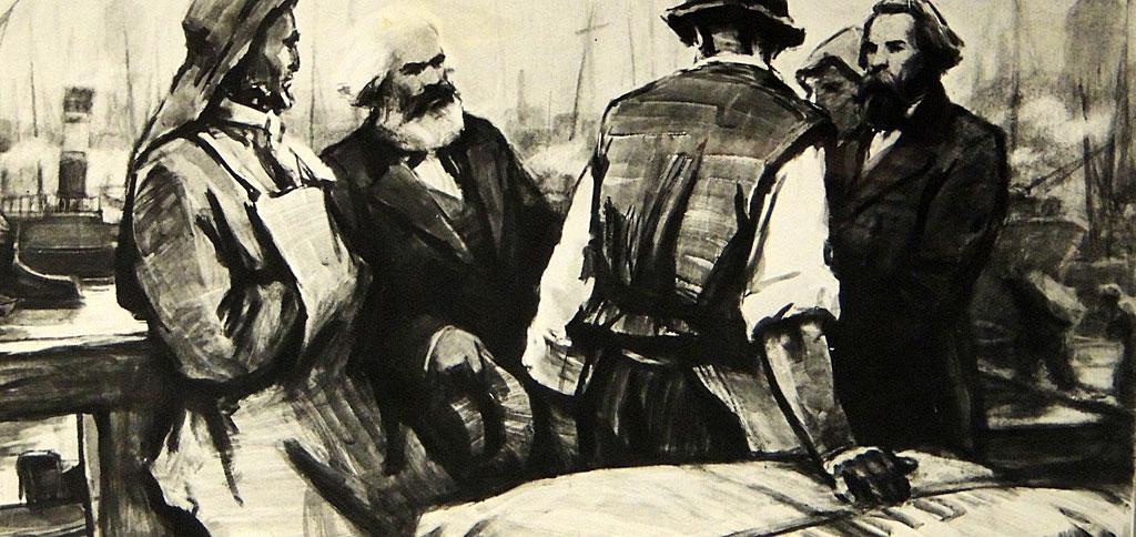 Friedrich Engels (derecha) con Karl Marx (izquierda) hablando con los trabajadores portuarios.