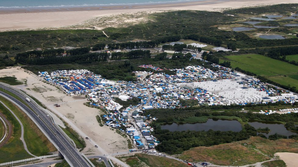 A aerial photograph of the Calais migrant camp known as the Jungle in 2016