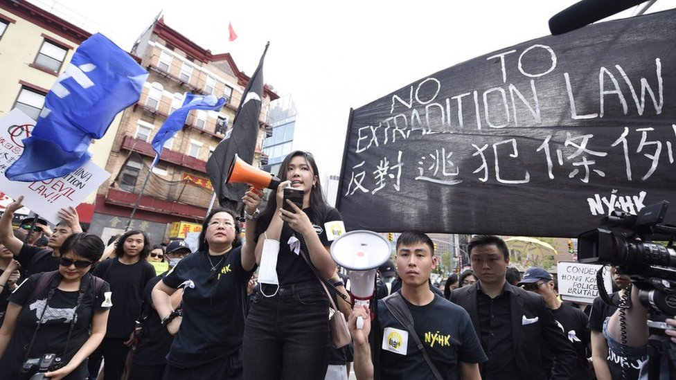 Frances Hui speaks at a New York rally in support of Hong Kong protesters