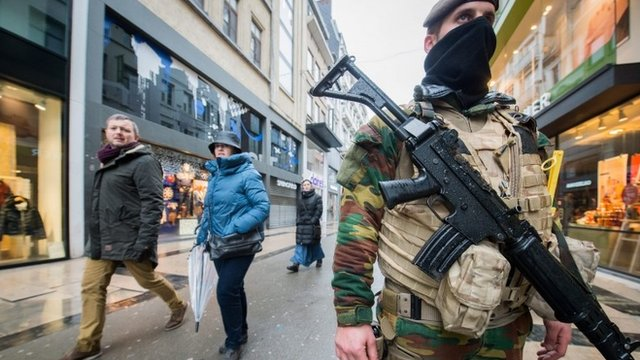 Soldier on street in Brussels