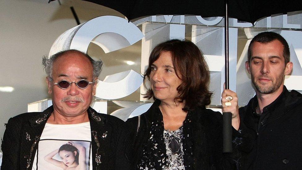 Photographer Nobuyoshi Araki (L) attends Chanel 'Mobile Art' Opening Reception at Yoyogi Olympic Plaza on May 30, 2008 in Tokyo, Japan.