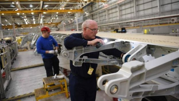 Airbus workers making wing at Broughton, Flintshire