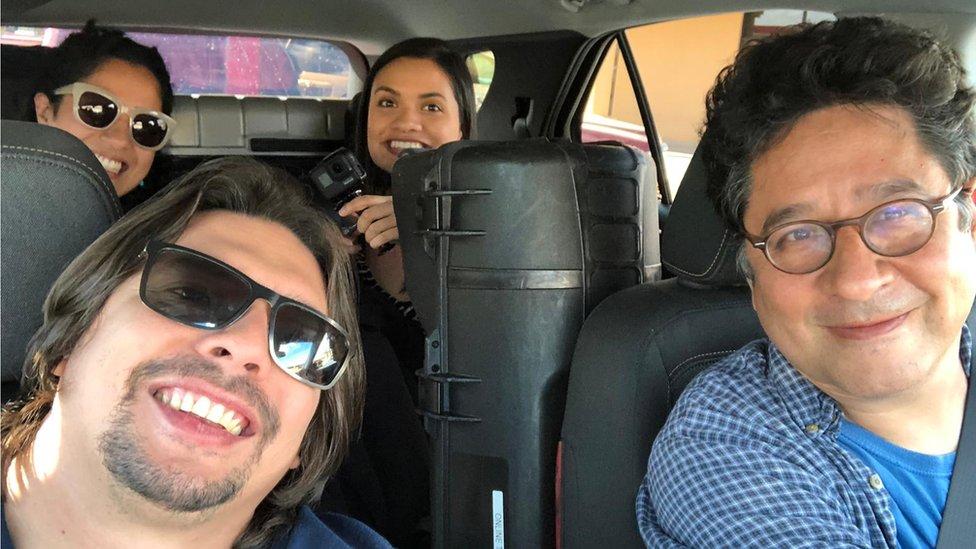 Los cuatro miembros del grupo que emprendió el viaje de Hablas Español.