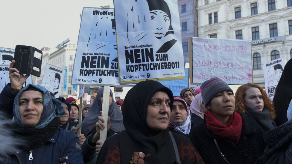 Muslims and Austrian citizens attend a protest against the women headscarves ban proposed by the government country's ruling coalition in Vienna, Austria on February 04, 2017