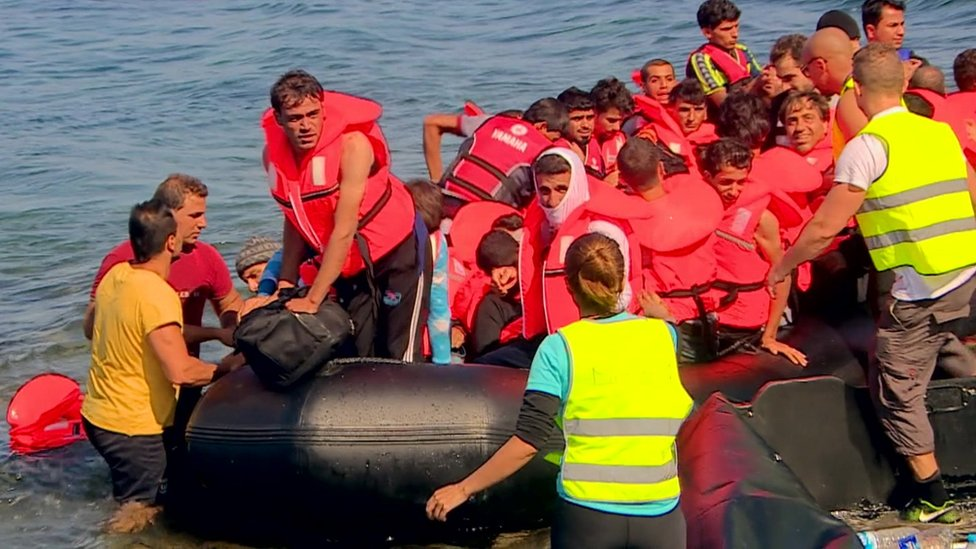 Migrants arriving in Lesbos