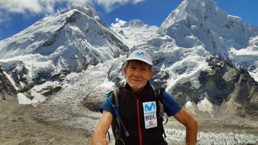 Image shows Carlos Soria in the Himalayas