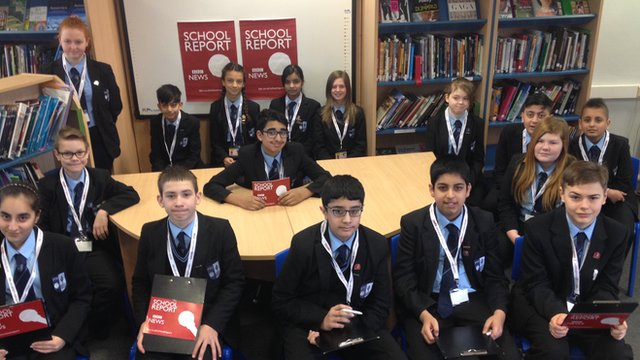 School Reporters from Pedmore Technology College in Stourbridge.