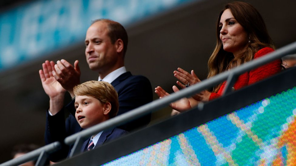 The Duke of Cambridge, president of the Football Association, was joined by his wife the Duchess of Cambridge and their eldest child, seven-year-old Prince George, as they applauded after the match