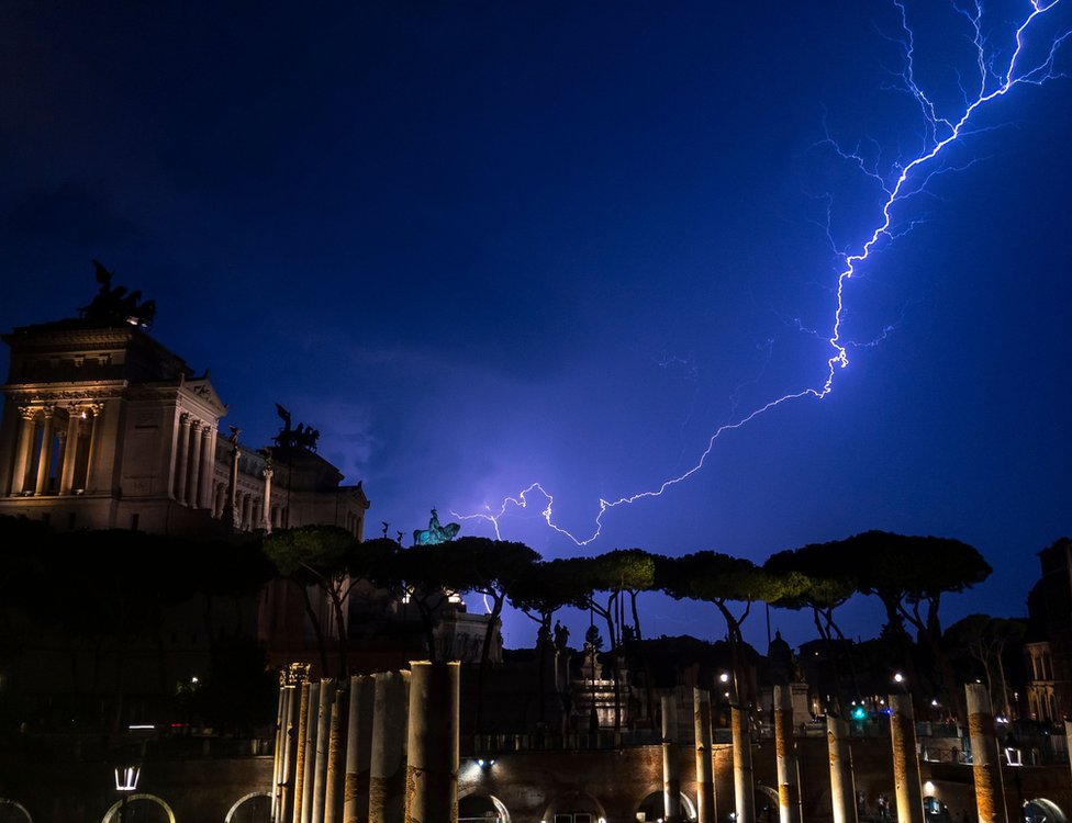 A lightning strike above the Vittorio Emanuele II Monument