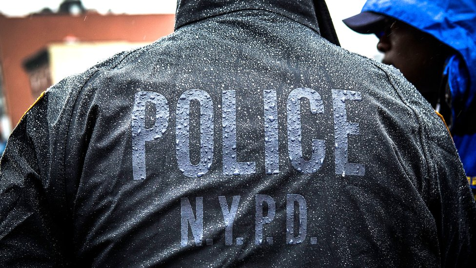 Back of a New York City police officer's coat
