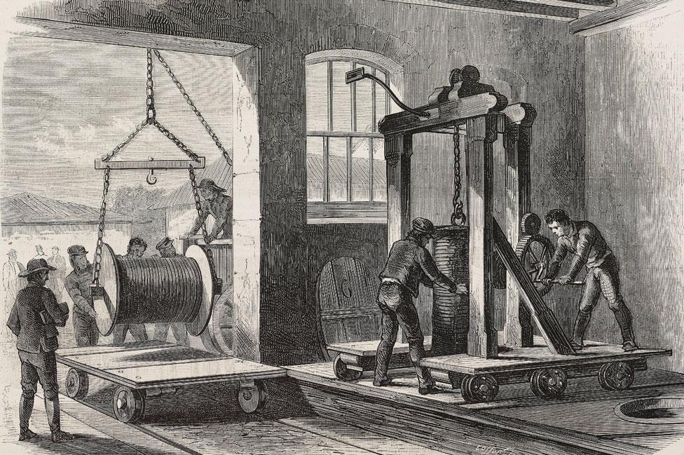 Una fábrica de cables telegráficos submarinos en Greenwich, Londres