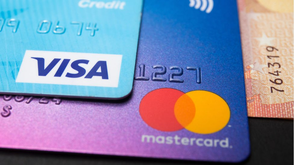Visa and Mastercard debit and credit cards