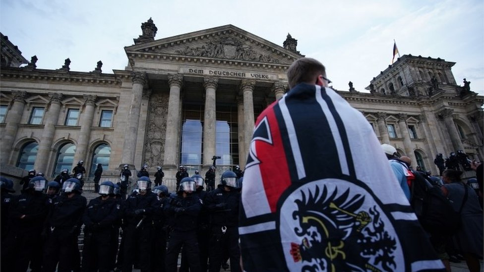 Far-right Protestant in front of the German Parliament.