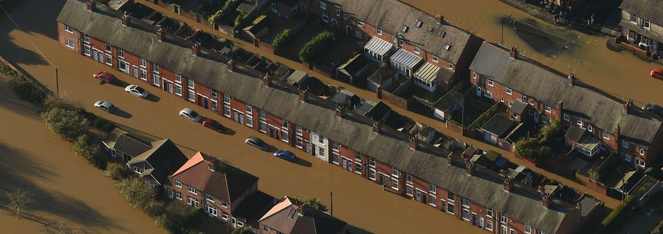 Flooded homes in York