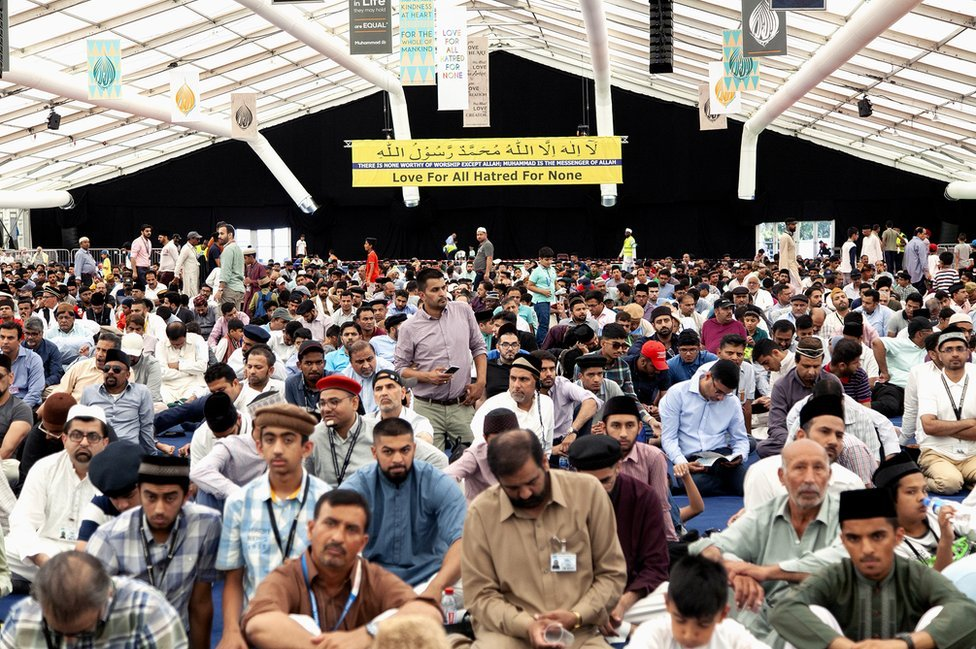 Muslims attend the UK's largest Islamic convention