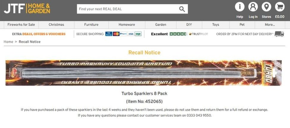 The recall notice on the JTF website