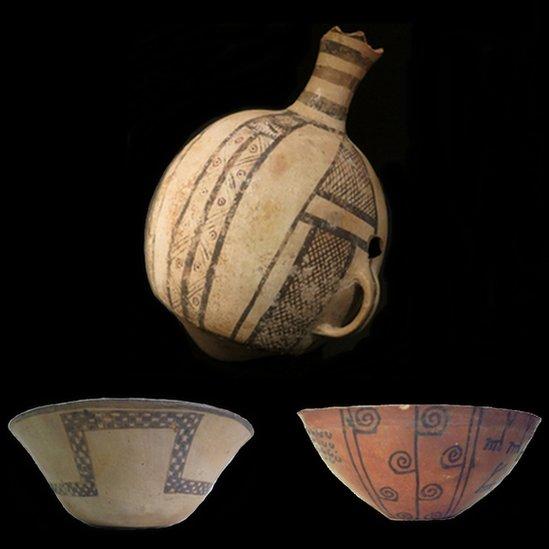 Vasijas incas encontradas en las excavaciones en Copiapó
