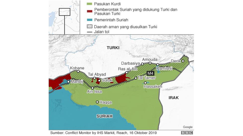 Peta situasi Suriah utara 16 Oktober 2019