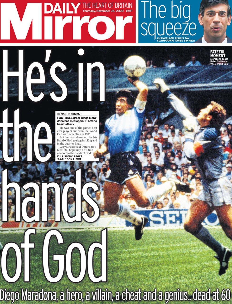 Newspaper headlines: Maradona in 'hands of God' and economic 'emergency' -  BBC News