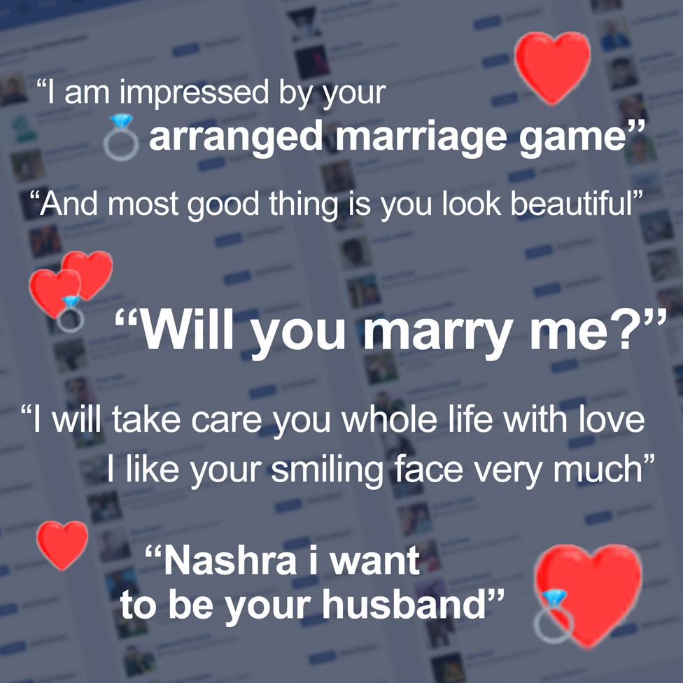 Some of the proposals Balagamwala received - in the background, her many Facebook friend requests