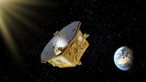 Ilustración de la Antena espacial de interferómetro láser (LISA)
