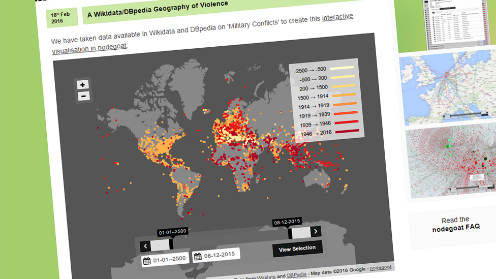 Screenshot of the Wikidata Geography of Violence map
