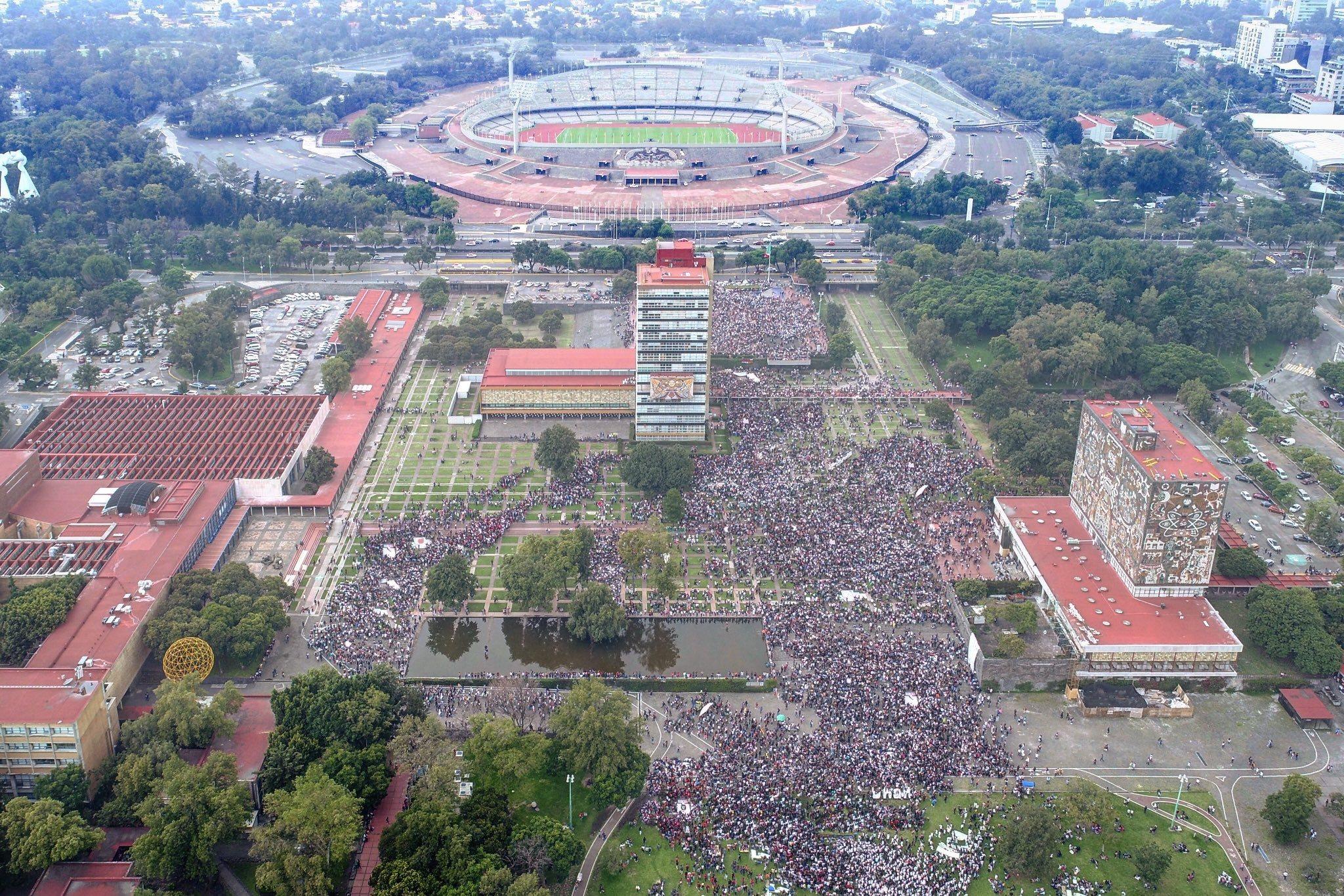 Vista aérea de la manifestación