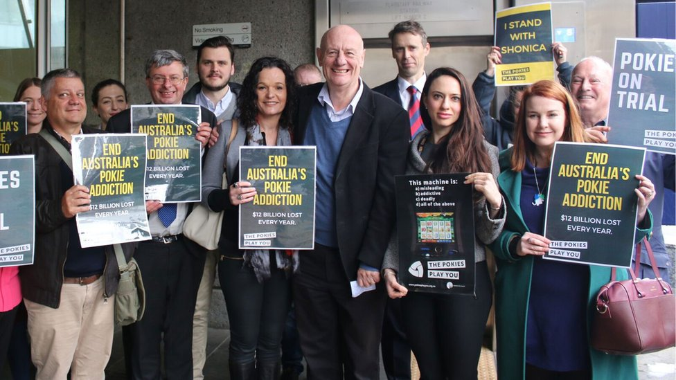 Tim Costello, centre, is a high-profile anti-gambling campaigner