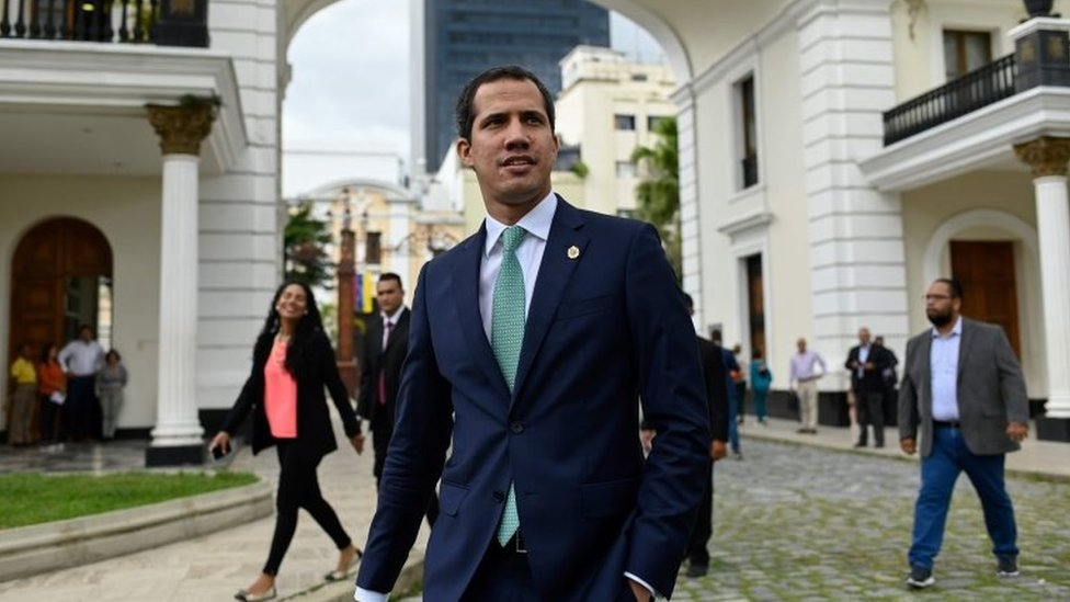 Venezuelan opposition leader and self-proclaimed interim president Juan Guaido arrives for a session of the Venezuelan National Assembly in Caracas on July 30, 2019.