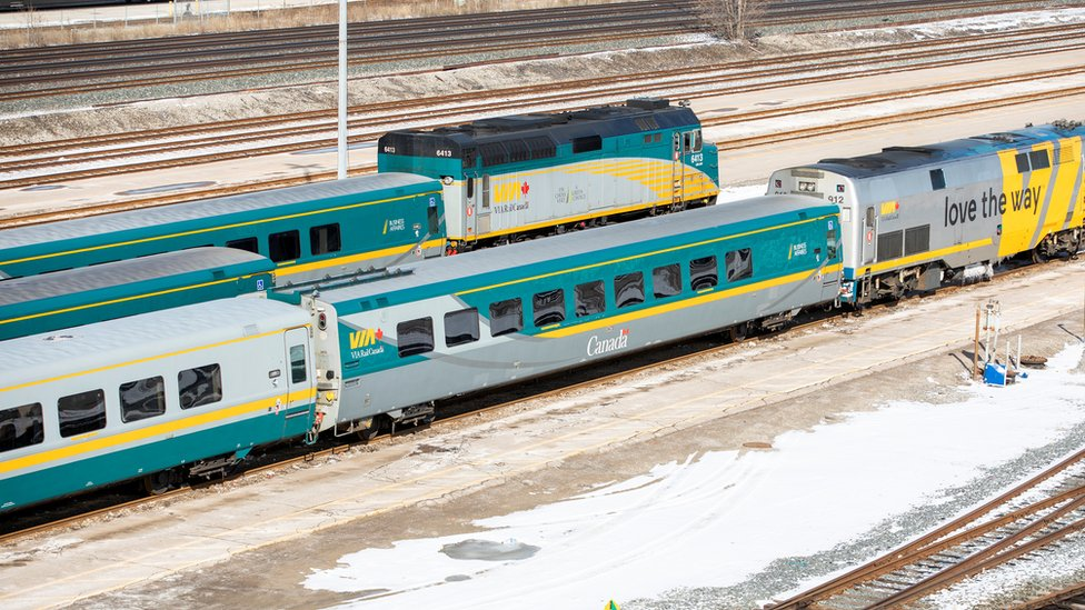 Passenger rail trains sitting idle at Union Station in Toronto