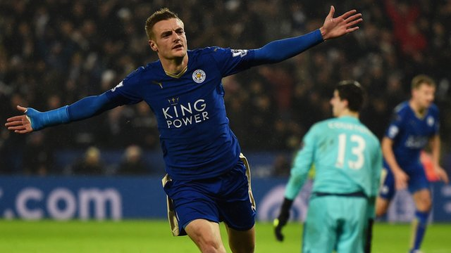Leicester City striker Jamie Vardy celebrates after scoring against Chelsea in the Premier League