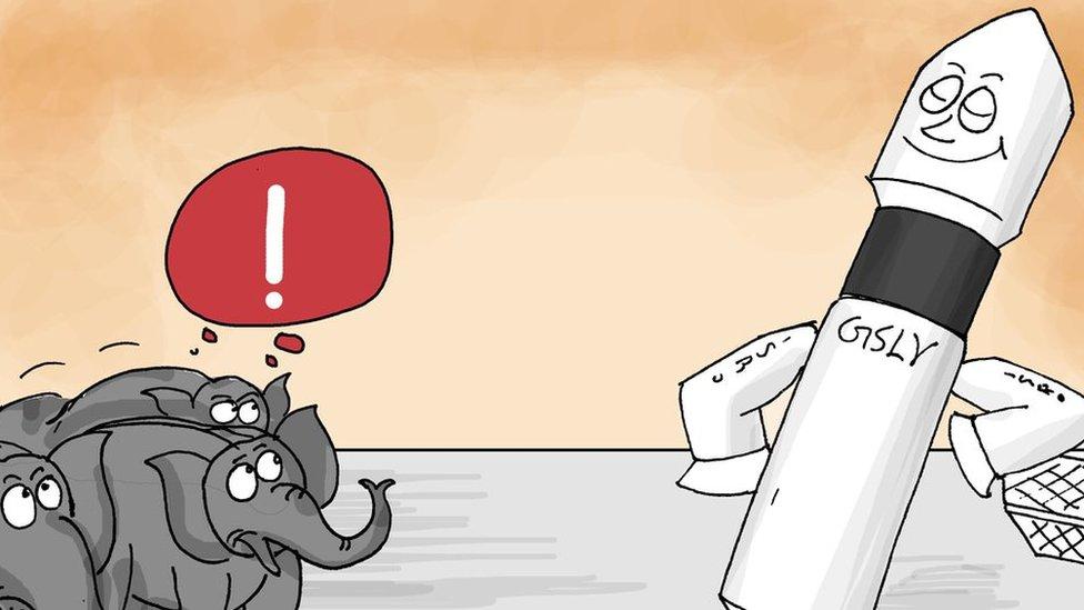 Cartoon showing elephants and the rocket