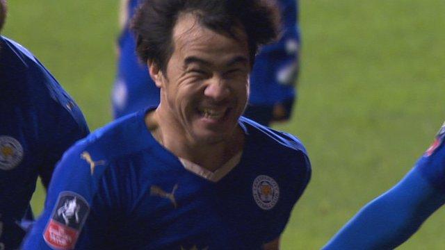 Leicester City's Shinji Okazaki celebrates