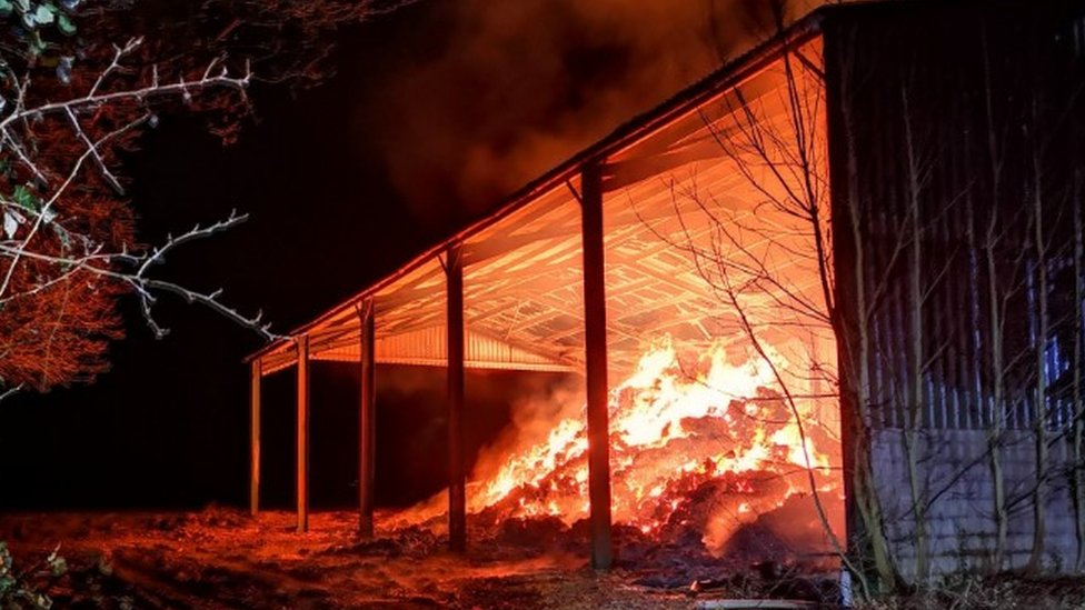Fareham farm fire engulfs barn and 1,000 hay bales
