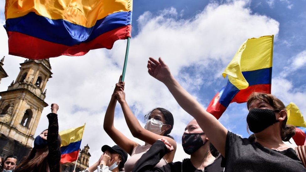 Manifestantes colombianos