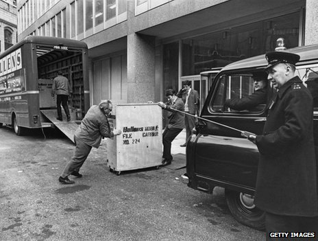 Moving crates of criminal records into New (New) Scotland Yard in 1967