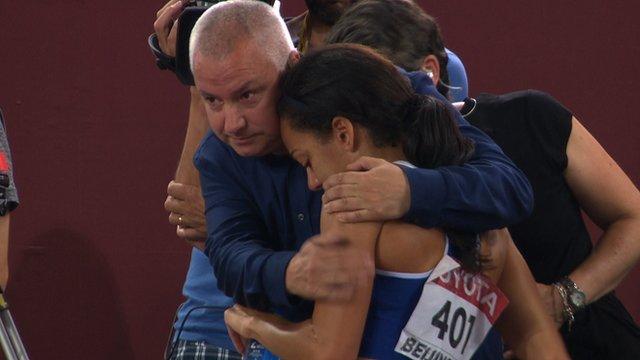 Katarina Johnson-Thompson (right) with BBC Sport's Phil Jones