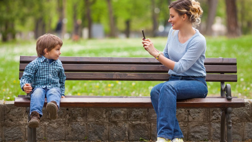 family on a bench