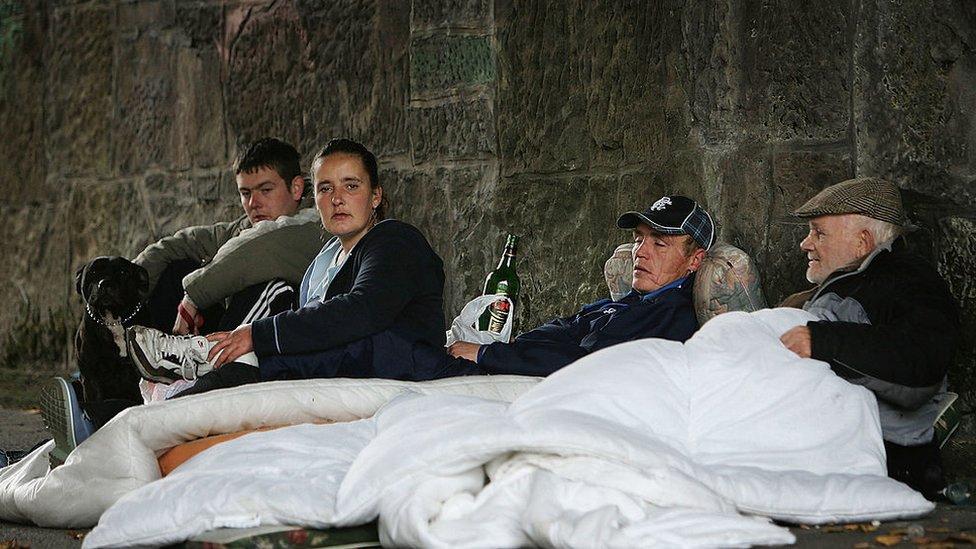 Personas sin hogar en Escocia.