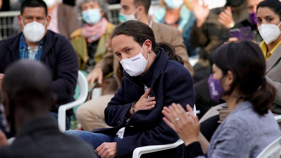 Pablo Iglesias durante un acto de campaña para las elecciones de Madrid