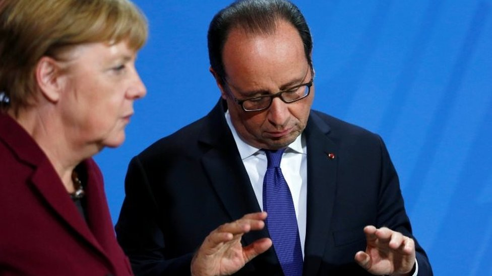 German Chancellor Angela Merkel (left) and French President Francois Hollande in Berlin. Photo: 20 October 2016