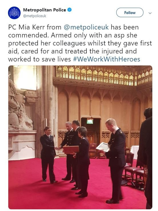 PC Kerr was recognised for her bravery at the London Bridge attack