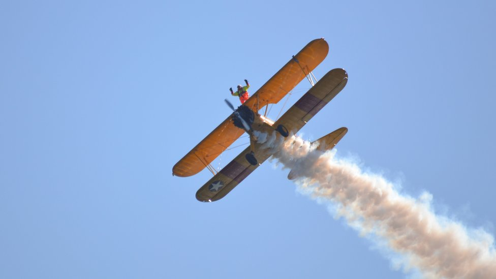 Wingwalker in the 2015 Guernsey Air Display