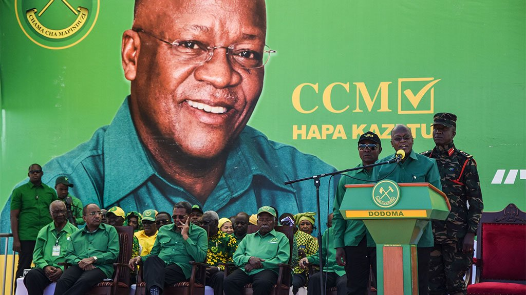 John Magufuli (2nd R) speaks during the official launch of his party's campaign for the October general election at the Jamhuri stadium in Dodoma, Tanzania, on 29 August, 2020