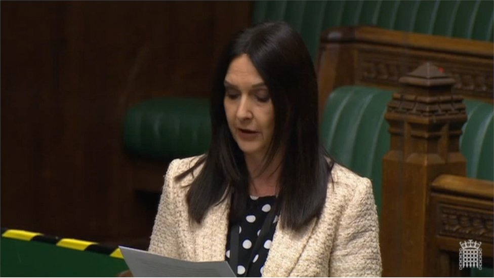 SNP MP Margaret Ferrier in the House of Commons on Monday during a debate on the coronavirus response