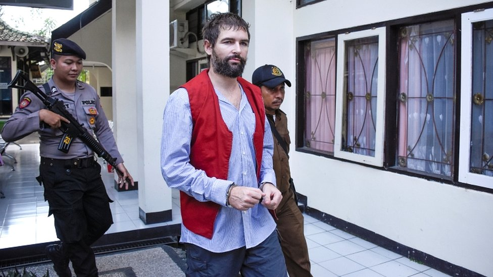 Frenchman Felix Dorfin, who was sentenced to death for drug trafficking, walks before his trial at Mataram court in Lombok island, West Nusa Tenggara province, Indonesia May 20, 2019